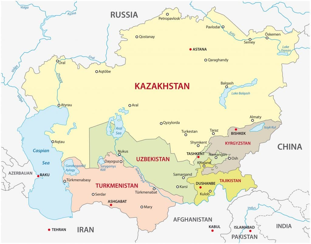 Mapa Uzbequistao